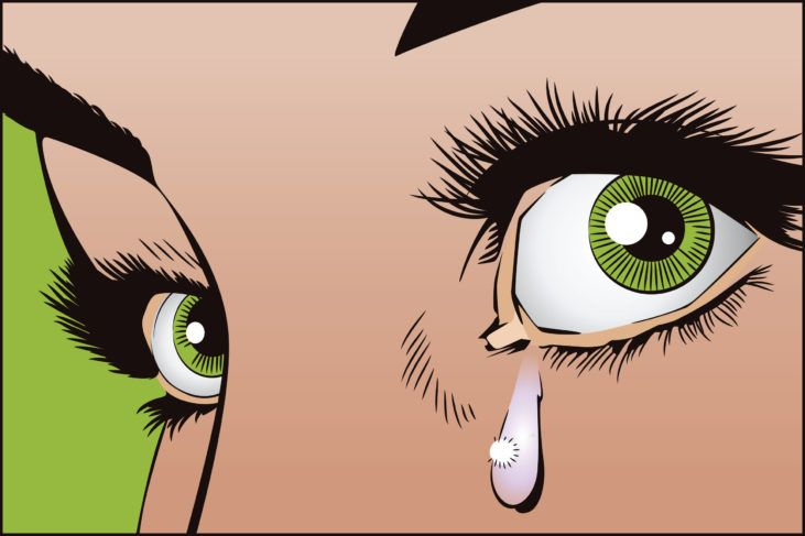 55389393 - stock illustration. people in retro style pop art and vintage advertising. tears in the eyes of the girl