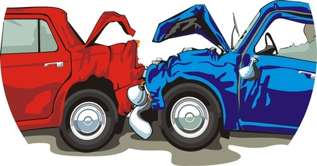 two cars have crashed (illustration)