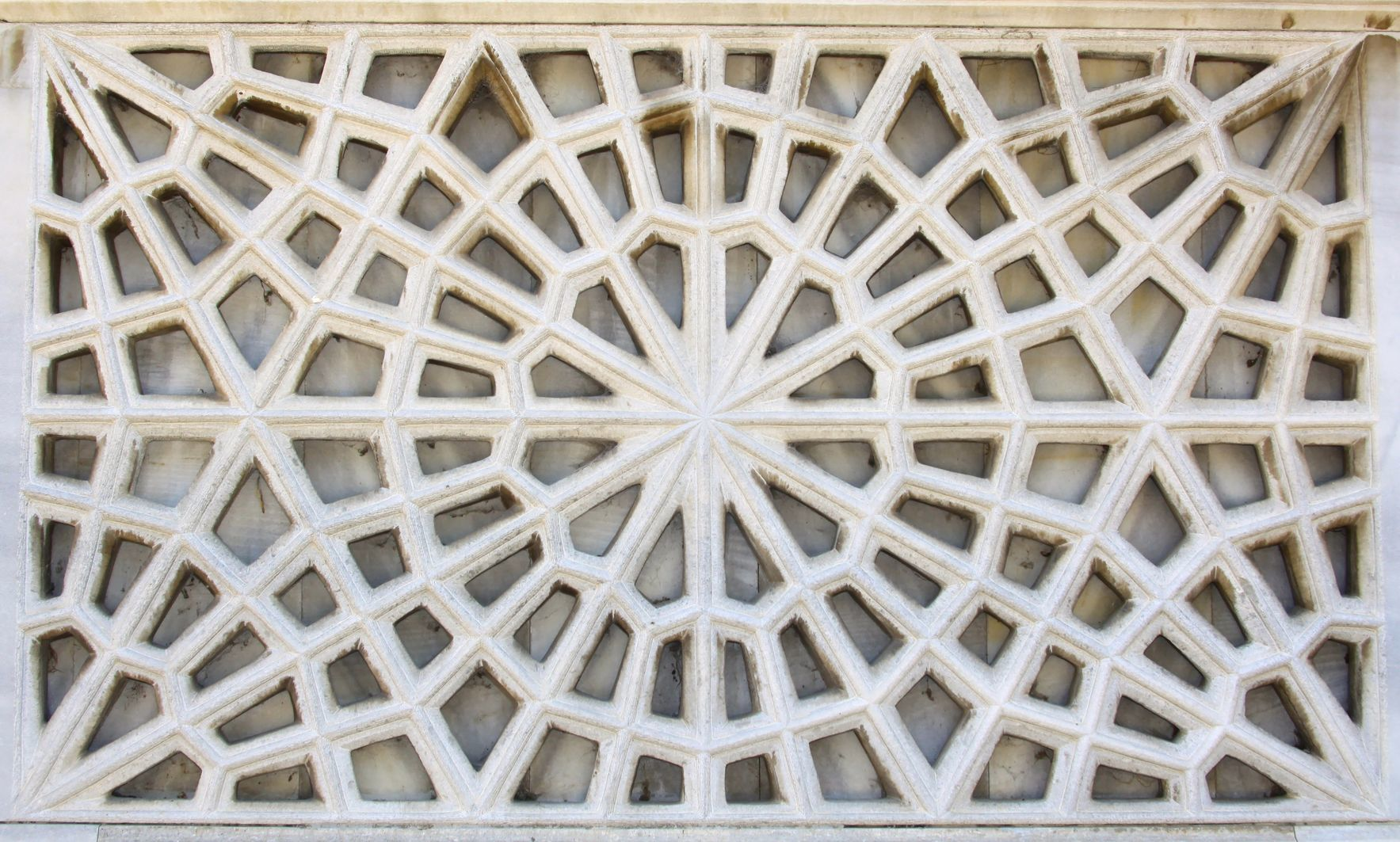 A geometric design cast in plaster