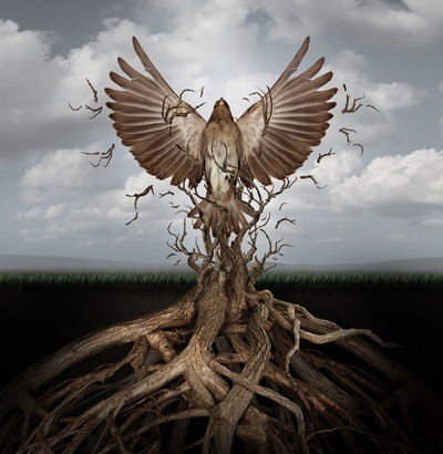 An illustration of a bird victoriously breaking free from a cluster of vines