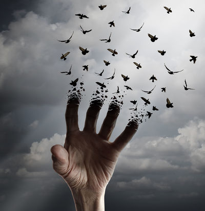 A hand reaching up for help with the fingers morphing into flying crows